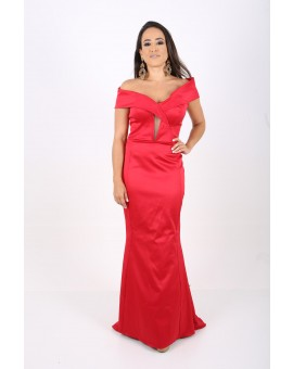 Vestido Vermelho Tafeta - Ombro a Ombro