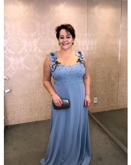Aluguel Vestido Azul Crepe