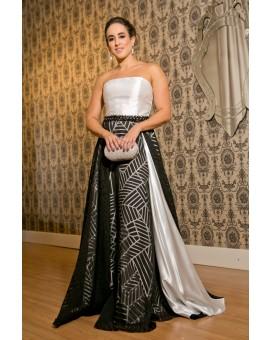 Aluguel Vestido Princesa Longo Bicolor