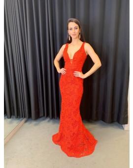 Aluguel Vestido Vermelho de Renda