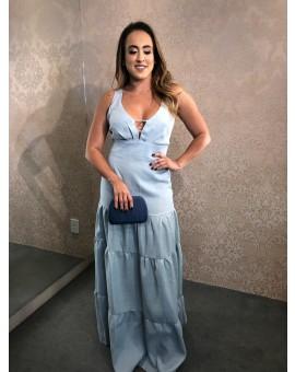 Aluguel Vestido Linho Azul Bebê