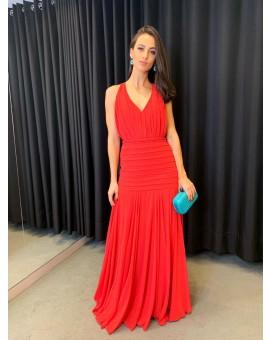 Aluguel Vestido Vermelho Tiras Costa