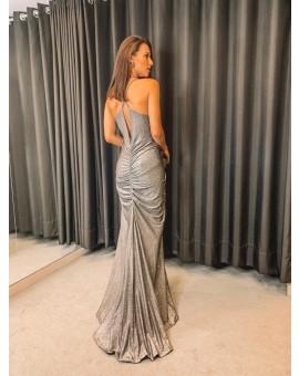 Vestido Penélope Lurex - Chumbo
