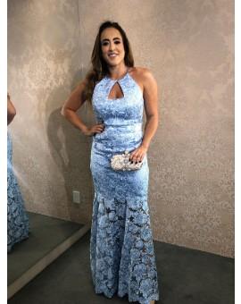Aluguel Vestido Azul Serenity Renda