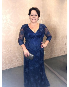 Vestido Azul Marinho Plus Size