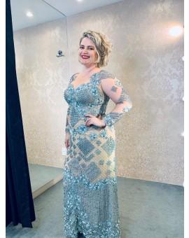 Vestido Sereia - Azul com Fundo Nude Manga Longa - Dorinha Guimarães