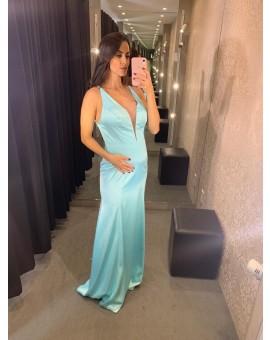 Vestido Decote Tule Azul Tiffany