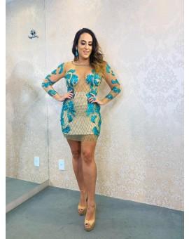 Vestido Curto - Nude com Azul Bordado