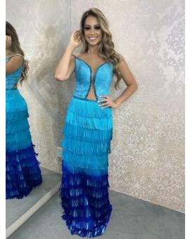 Vestido Tutta Degradê Azul Franja