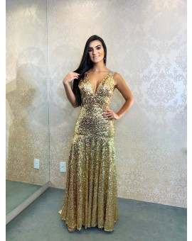Vestido Fabulous Agillitá Paetê Dourado Sereia Cauda Decote