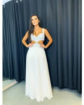 Vestido Fabulous Agilitá Branco Recortes Bordado