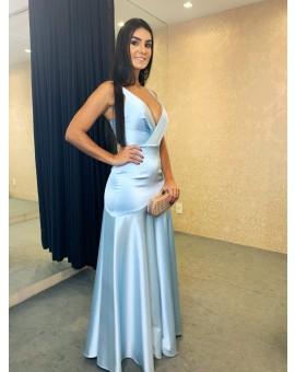 Vestido Iorane Sereia decote Azul Claro