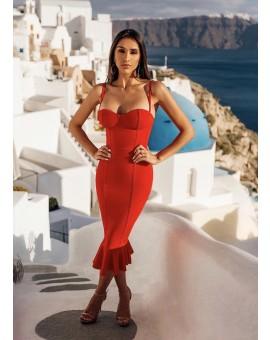 Vestido Midi Sereia Decote Vermelho