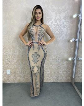 Vestido Recortes Nude Bordado Prata e Azul