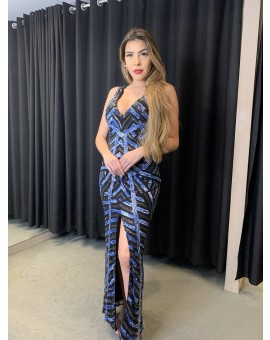 Vestido Bordado Decote e Fenda Azul e Preto