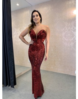 Vestido Tomara -Que- Caia Paetê Vermelho