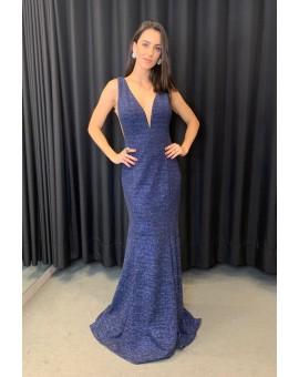 Vestido Sereia - Jovani Lurex Azul Marinho