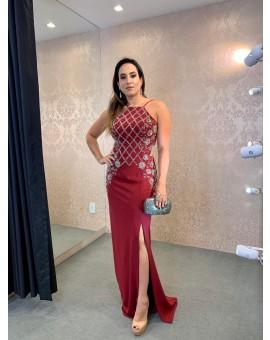 Vestido - Patricia Bonaldi Marsala Bordado Quadriculado