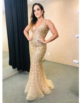 Vestido Sereia - Pedraria Dourado