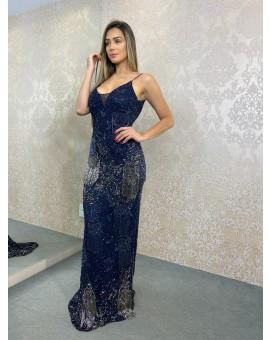 Vestido Azul Marinho Franjas - Thiago Mendonça