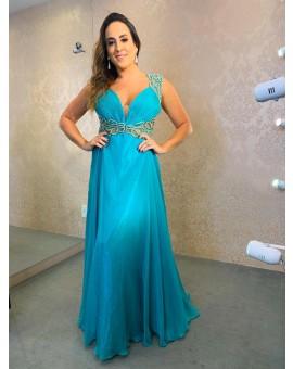 Vestido Princesa Azul - Bordado na parte de cima