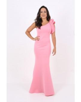 Aluguel Vestido Rosa Chiclete Babado