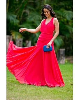 Vestido Vermelho Tiras Costa