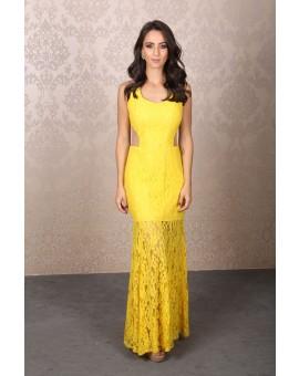 Vestido Amarelo renda recortes