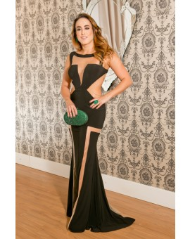 Vestido Longo Geométrico Preto