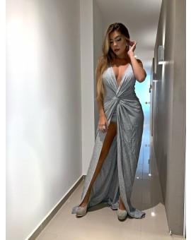 Aluguel Vestido Penélope Lurex - Prata