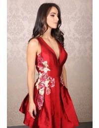 Aluguel Patrícia Bonaldi - Vermelho Aplicação Floral