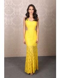 Aluguel Vestido Amarelo renda recortes