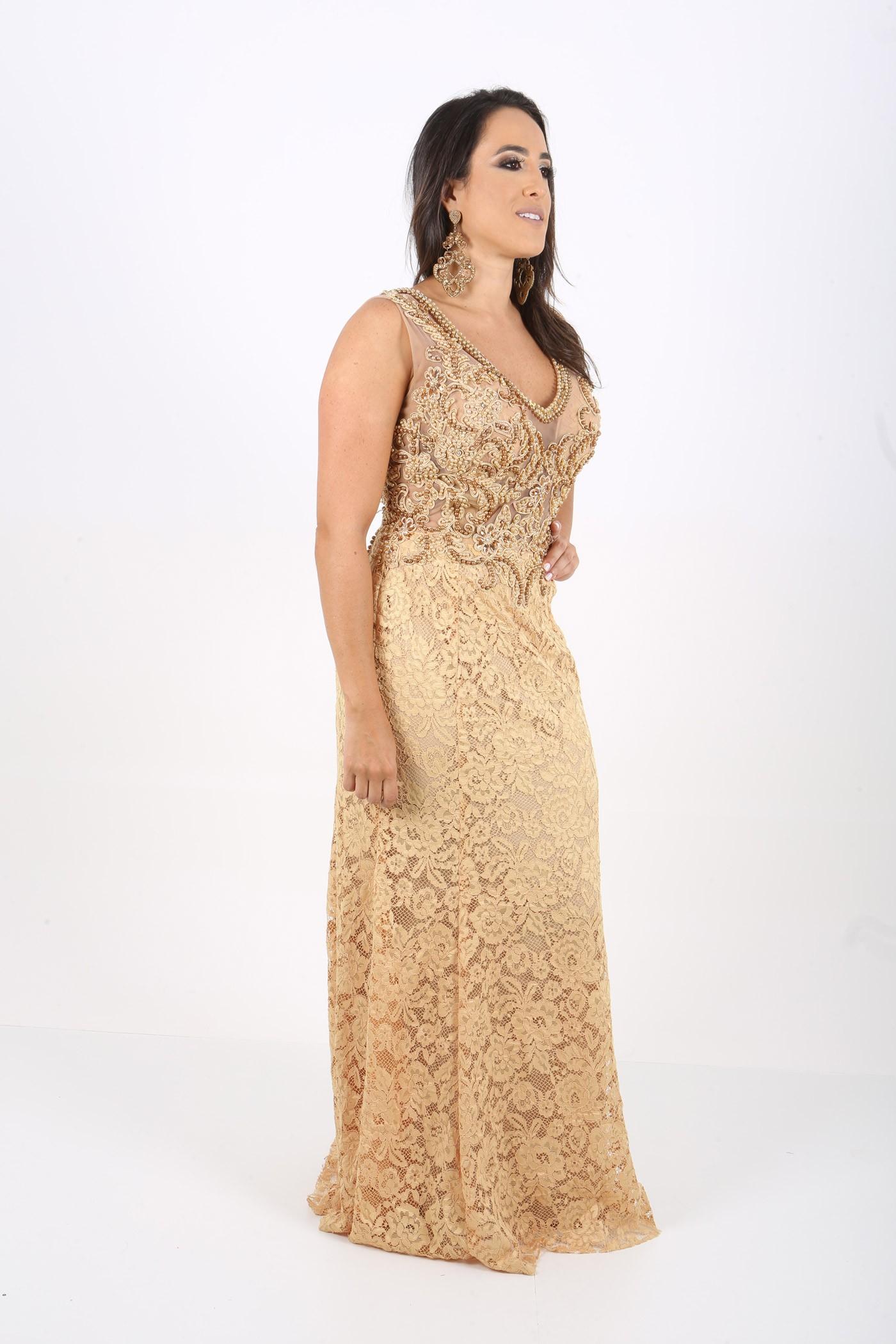 e885e0407 Vestido Perolas Dourado - Longos - Vestidos Novos e Semi-novos