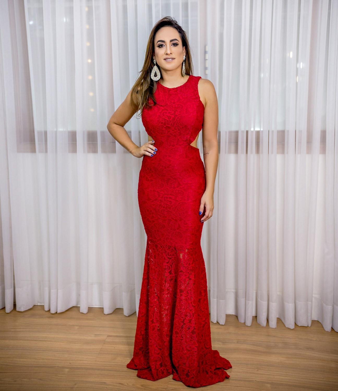 Aluguel Vestido Vermelho Renda